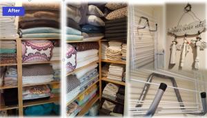 A tidy, organised linen cupboard