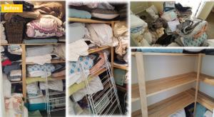 A messy linen cupboard