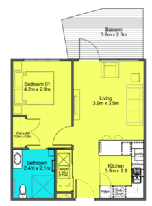 Retirement apartment example floor plan