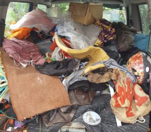 Example of hoarding in a vehicle.